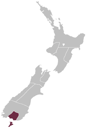 Southland Province - Map showing the boundaries of the Southland Province