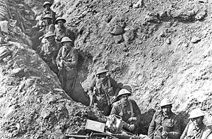 Military history of New Zealand during World War I - Infantry from the 2nd Battalion, Auckland Regiment, New Zealand Division in the Switch Line near Flers, taken some time in September 1916, after the Battle of Flers-Courcelette