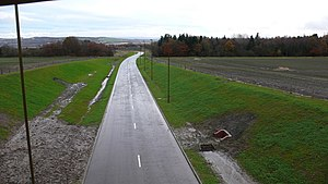 English: New road at Hawthornden Only when I g...