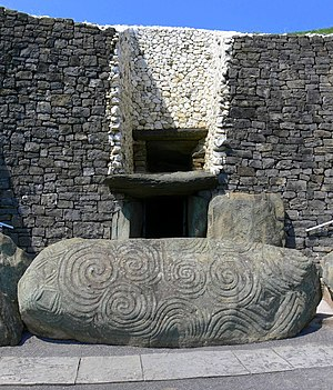 Newgrange - The entrance passage to Newgrange, and the entrance stone