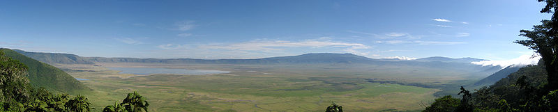 Vista panorámica do cráter do Ngorongoro.
