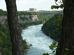 Niagara Gorge - Niagara River flowing through Niagara Gorge (from eastern brink north of Niagara Whirlpool)