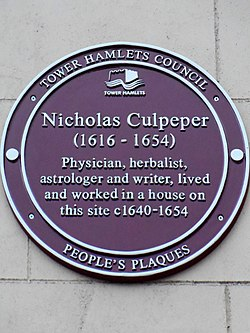 Nicholas culpeper (1616 1654) physician herbalist astrologer and writer lived and worked in a house on this site c.1640 1654