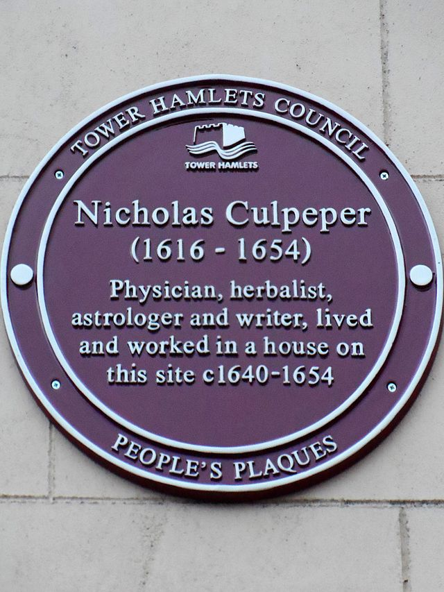 Nicholas Culpeper red plaque - Nicholas Culpeper  (1616-1654)  physician, herbalist, astrologer and writer, lived and worked in a house on this site c.1640-1654