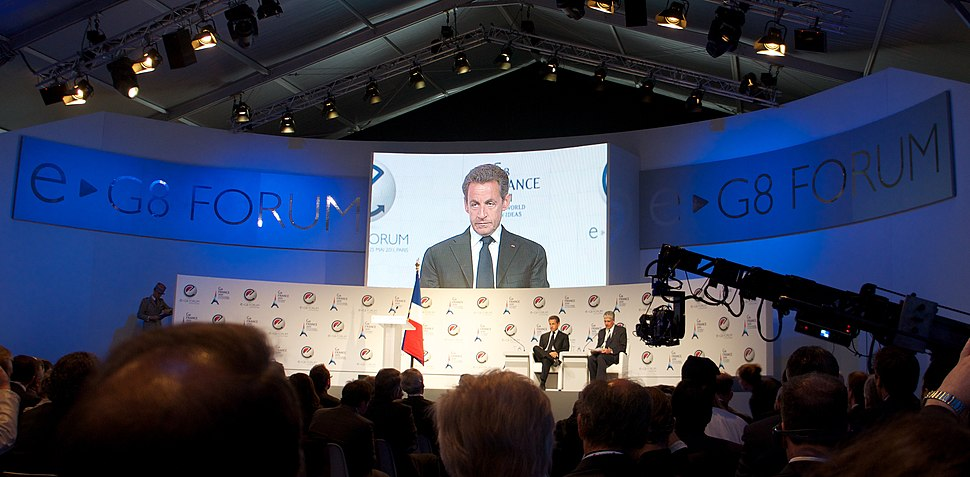 Nicolas Sarkozy addresses the E-G8 Forum