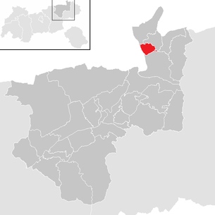 Location of the community of Niederndorf in the Kufstein district (clickable map)