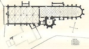 Middelburg Abbey - Plan of the contiguous New church and Choir church in Middelburg A. (east end) Choir church B. (west end) New church C. (south side) Abbey tower D. (dotted) ?former abbey