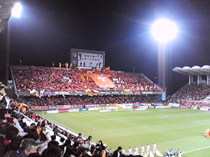 IAI Stadium Nihondaira - The Kop (West Stand) as seen from the Main Stand for the visit of Kashima Antlers, April 2007