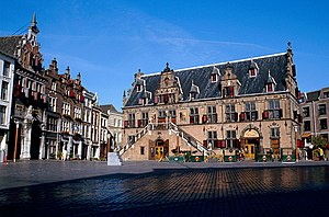 "Nijmegen - Historical buildings at the ""Grote Markt"" (""Great Market"")."