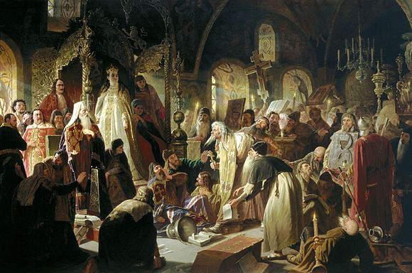 An Old Believer Priest, Nikita Pustosviat, Disputing with Patriarch Joachim the Matters of Faith. Painting by Vasily Perov Nikita Pustosviat. Dispute on the Confession of Faith.jpg