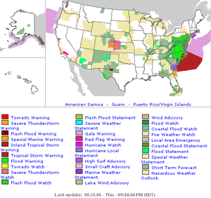 Severe weather terminology (United States) - An example of weather advisories displayed on a national map.