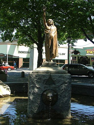 Chief Seattle - Statue (erected 1908) of Chief Seattle, Tilikum Place, Seattle, Washington. The statue is on the National Register of Historic Places.