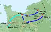 A map of Normandy, showing Philip's invasion with a sequence of blue arrows, and the Breton advance from the west shown in light blue.