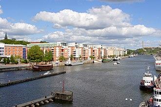 Hammarby Sjö - Hammarby Sjö and Norra Hammarbyhamnen viewed from Skansbron.