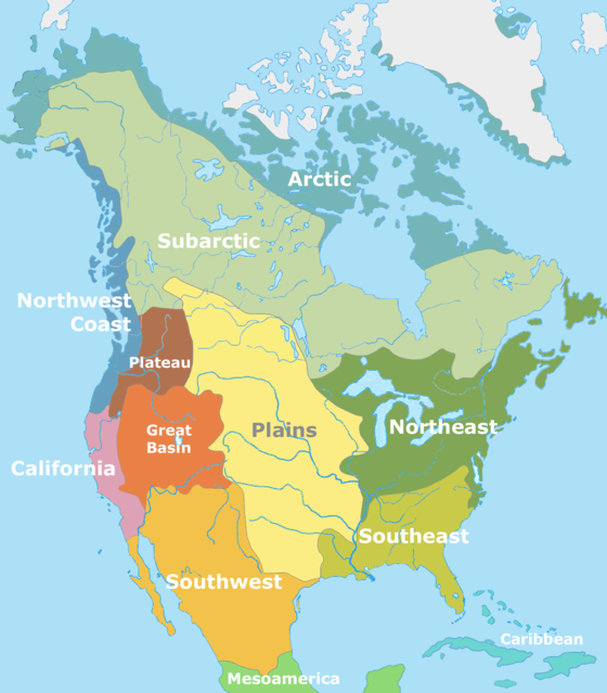 The Cultural areas of pre-Columbian North America, according to Alfred Kroeber North American cultural areas.png