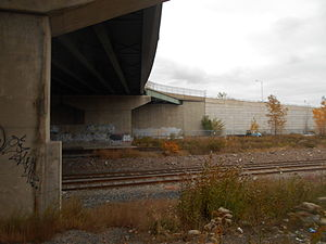 Susquehanna Transfer (NYS&W station) - North Bergen station site in October 2014. Paterson Plank Road appears overhead. North Bergen station was the original location of choice of the new transfer station