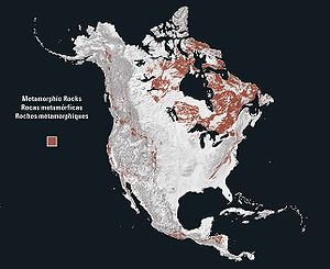 Geology of North America - On a map showing only metamorphic rocks, the Canadian Shield forms a circular pattern north of the Great Lakes around Hudson Bay.