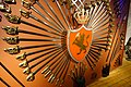 Norwegian sabres, coat of Arms old type, decoration, etc. (Oppstilling av sverd, sabler mm. ca. 1600-1800 med gammelt, norsk riksvåpen). Rustkammeret, Erkebispegården, Trondheim, Norway. 2019-03-20 C.jpg