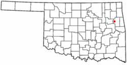 Location of Hulbert, Oklahoma