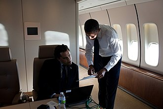 Barack Obama Tucson memorial speech - Obama with speechwriter Cody Keenan aboard Air Force One.