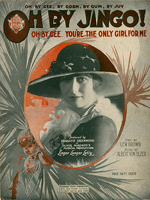 Oh By Jingo! - Sheet music cover with picture of Charlotte Greenwood (1919)