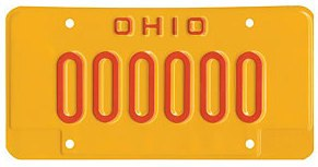 Ohio license plate issued to DUI offenders sample