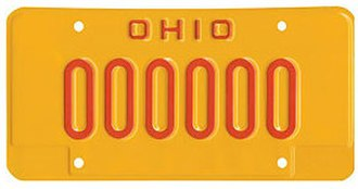 Drunk driving in the United States - Image: Ohio license plate issued to DUI offenders sample