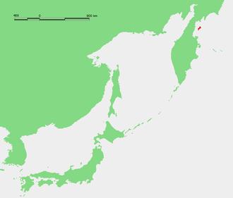 Karaginsky Island - Location of Karaginsky Island off the eastern Kamchatka coast