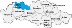Location of Stara Ļubovņas apriņķis