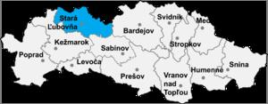 Hniezdne - Location of Stará Ľubovňa District in the Prešov Region.