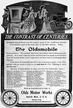 A 1905 advertisement for Oldsmobile.