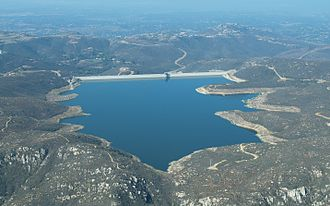 Olivenhain Dam - Aerial view of Olivenhain Reservoir and Dam looking toward the southwest.