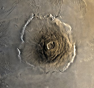 Olympus Mons - Viking 1 orbiter view of Olympus Mons with its summit caldera, escarpment, and aureole