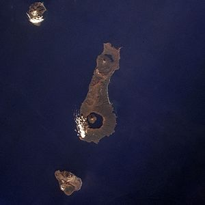 Onekotan - Onekotan Island (centre) from space, October 1994. North at top