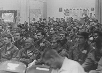 Operation Linebacker II - B-52 bombing crews at Andersen Air Force Base, Guam being briefed on the operation.