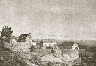 Karlin (Pinsk) - 19th-century view of the destroyed castle; sketch by Napoleon Orda
