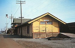 Orland train station in 1969; now located at the Glenn County Fairgrounds.