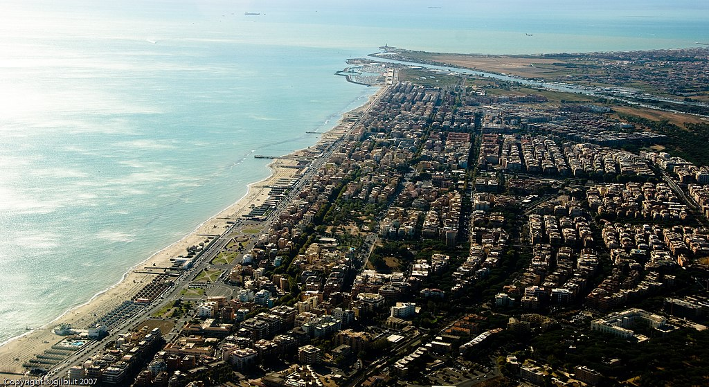 Vue aérienne sur Ostia, le