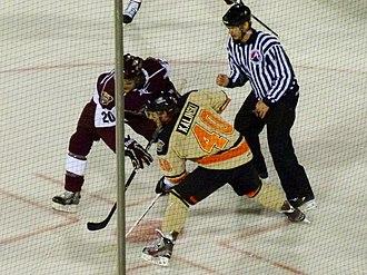 Jon Kalinski - Kalinski takes a face-off during the 2012 AHL Outdoor Classic