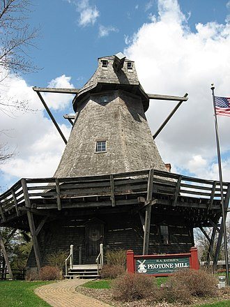 Peotone Mill - The Rathje Mill, or Peotone Mill, is an example of a late 19th-century wind powered grist mill,
