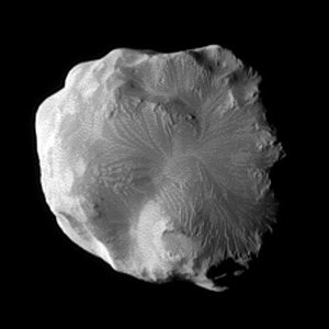 Helene (moon) - Flow-like features on Helene's leading hemisphere (Cassini, January 2011)