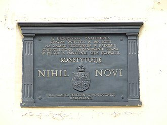 Szlachta privileges - Plaque at Radom Castle, commemorating 500th anniversary of adoption there, in 1505, of Act of Nihil novi