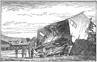 1868 Hayward earthquake - Damaged building in Hayward (top) and at the Hayward stud mill