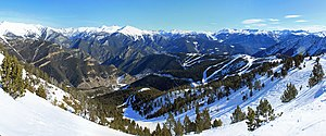 La Massana - A panoramic view from Arinsal of Vallnord.