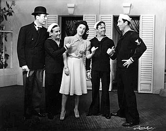 Rags Ragland - Arthur Treacher, Pat Harrington, Ethel Merman, Frank Hyers and Rags Ragland in the original Broadway production of Panama Hattie (1940)