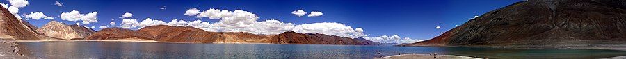 Panoramic view of Pangong Tso