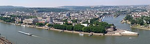 Panorama of Koblenz in GER, view from Fortress Ehrenbreitstein