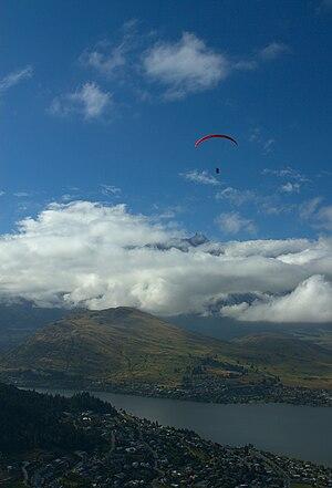 Paraglider above Queenstown