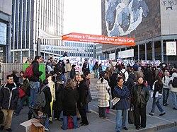 L'entrée principale de Jussieu lors des grèves