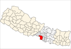 Parsa District i Narayani Zone (grå) i Central Development Region (grå + lysegrå)